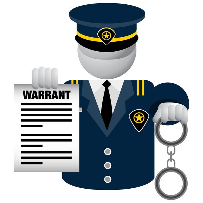 Police Warrant, officer with handcuffs and warrant ready to arrest suspect